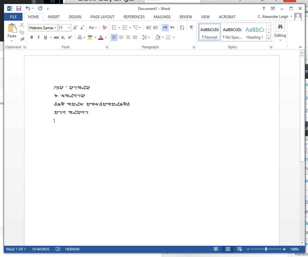 Samaritan keyboard working in MS Word